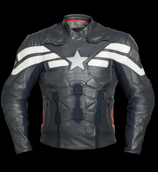 Captain America Stealth Leather Motorcycle Jacket With Protections!