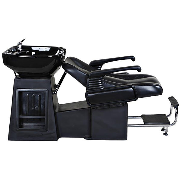 """Harlow"" Black Beauty Salon Shampoo Chair & Sink Bowl Unit"