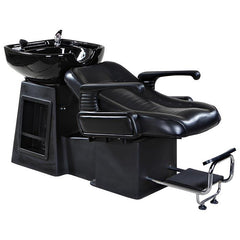 """Harlow"" Black Beauty Salon Shampoo Chair & Sink Bowl Unit Shampoo Backwash Units Icarus"