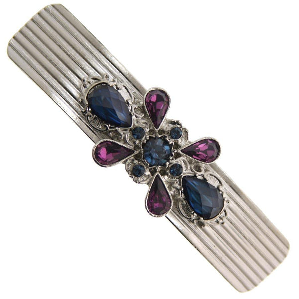 1928 Blue & Amethyst Stone Barrette Hair Barrettes, Bands & Ties 1928 Default Title