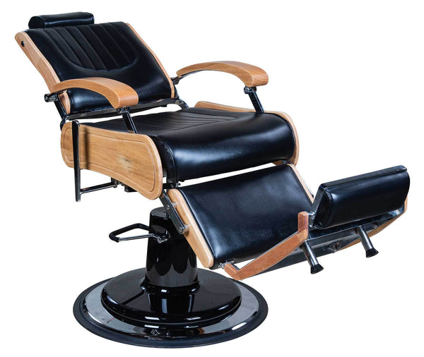 "Icarus ""Wilson"" Modern Black Barber Chair With Heavy Duty Base, Wood Trims"