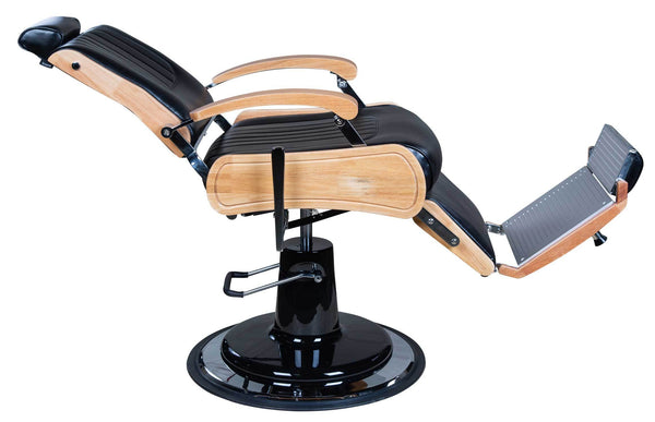 "Icarus ""Wilson"" Modern Black Barber Chair With Heavy Duty Base, Wood Trims Barber Chairs Icarus"