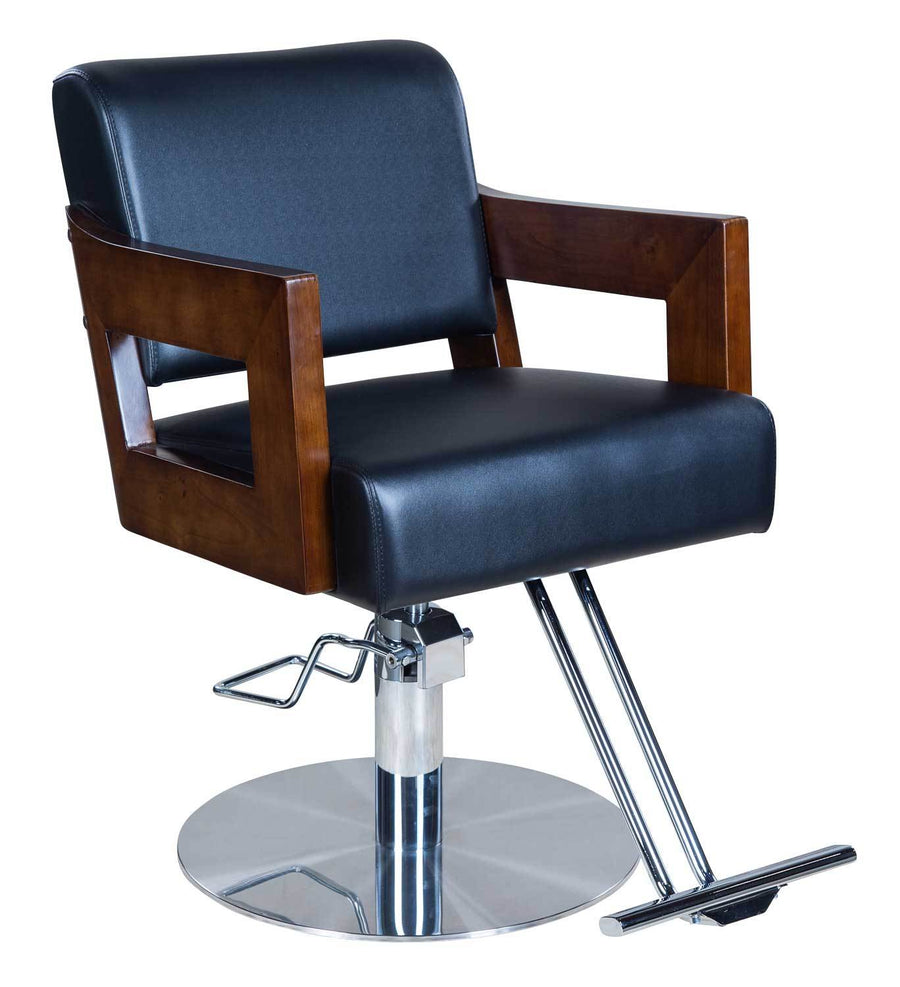 "Icarus ""Carl"" Black Salon Styling Chair With Wooden Handles Styling Chairs Icarus"
