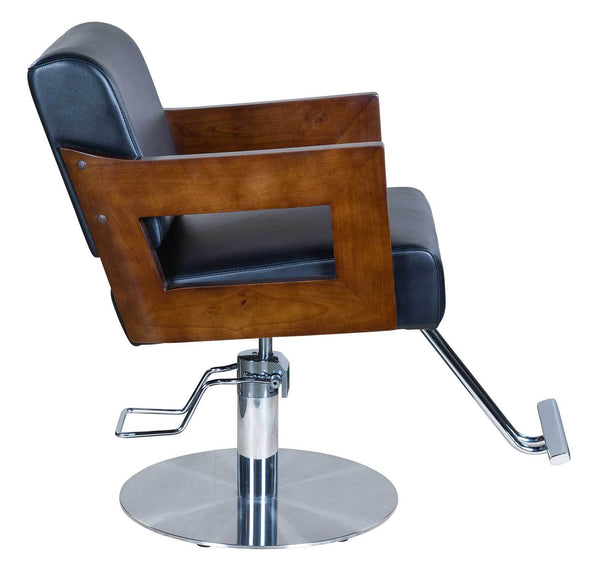 "Icarus ""Carl"" Black Salon Styling Chair With Wooden Handles"
