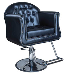 "Icarus ""Young"" Black Beauty Salon Styling Chair, Round Base"