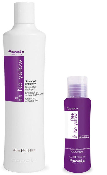 Fanola No Yellow Shampoo and Fanola Free No Yellow Vegan Shampoo Travel Size, 100ml Hair Shampoos Fanola 350 ml