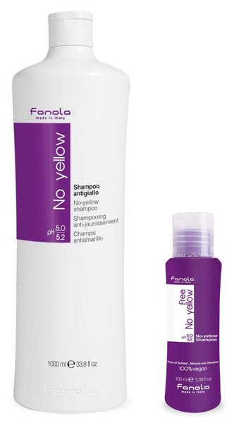 Fanola No Yellow Shampoo and Fanola Free No Yellow Vegan Shampoo Travel Size, 100ml Hair Shampoos Fanola 1000 ml