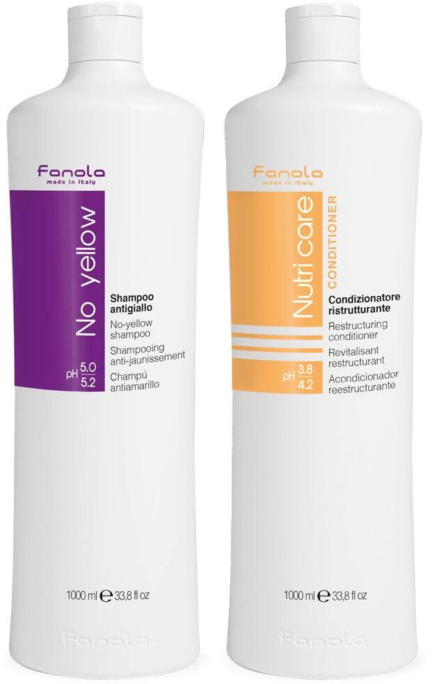 Fanola No Yellow Shampoo & Nutri Care Conditioner, 1000 ml Hair Shampoos Fanola 1000 ml