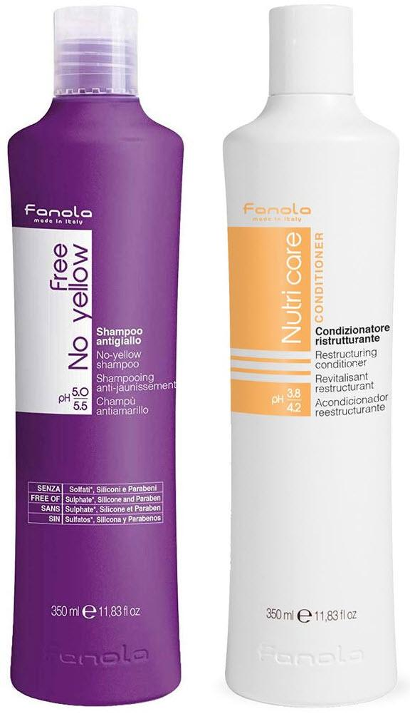 Fanola No Yellow Vegan and Nutri Care Package, 350 ml Hair Shampoos Fanola 350 ml
