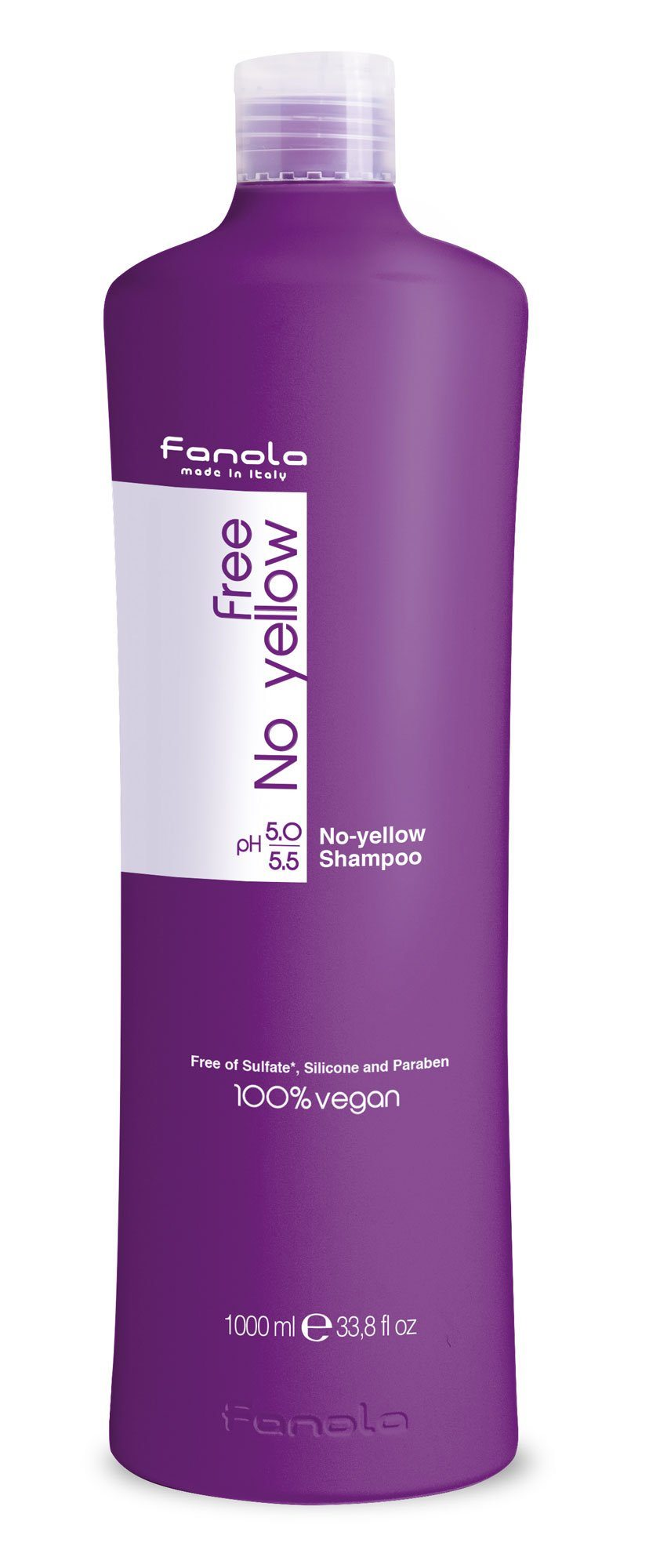 Fanola Free No Yellow Vegan Shampoo or Mask Hair Shampoos Fanola Shampoo, 1000 ml