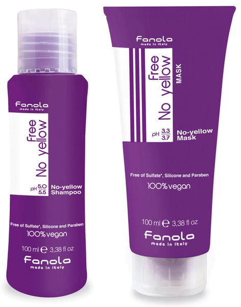 Fanola Free No Yellow Vegan Shampoo and Mask Travel Size, 100 ml Hair Shampoos Fanola