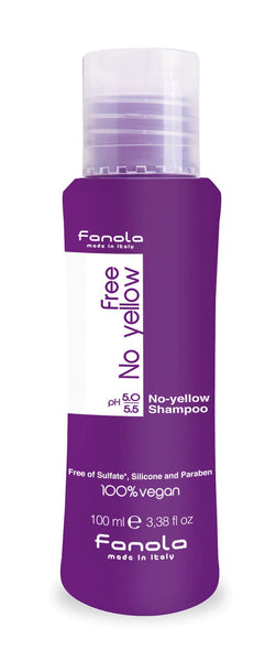 Fanola Free No Yellow Vegan Shampoo or Mask Hair Shampoos Fanola Shampoo, 100 ml