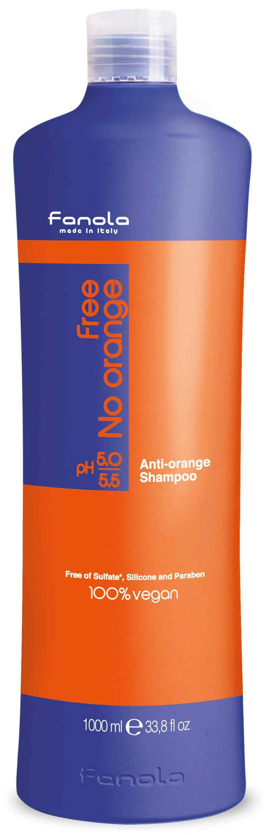 Fanola Free No Orange Vegan Shampoo or Mask Hair Shampoos Fanola Shampoo, 1000 ML