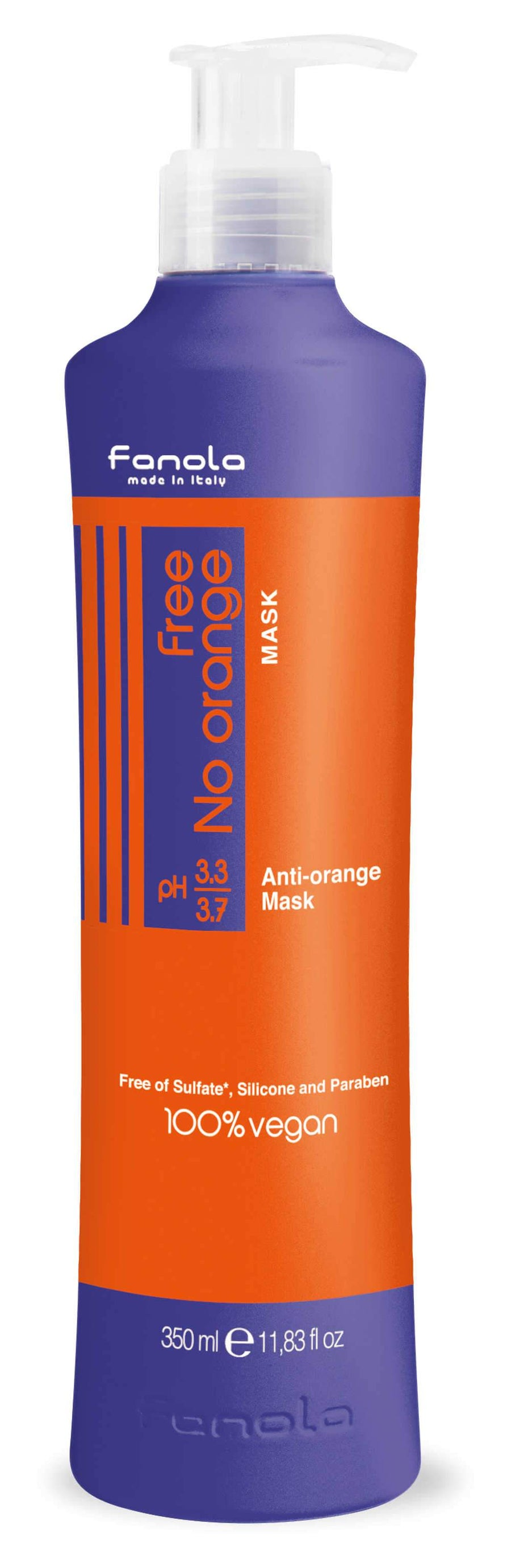 Fanola Free No Orange Vegan Shampoo or Mask Hair Shampoos Fanola Mask, 350 ML