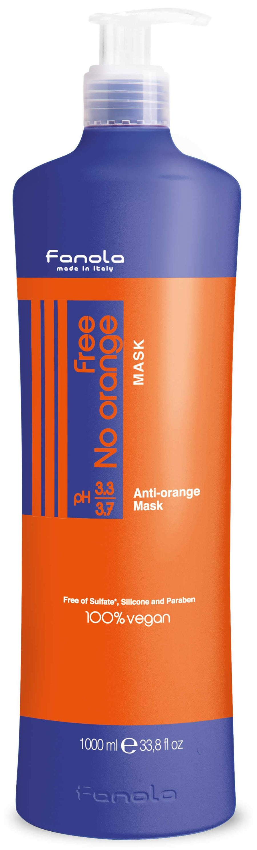 Fanola Free No Orange Vegan Shampoo or Mask Hair Shampoos Fanola Mask, 1000 ML