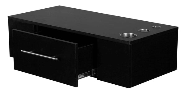 "Icarus ""Jackson"" Black Single Drawer Wallmount Salon Station with Appliance Holder"