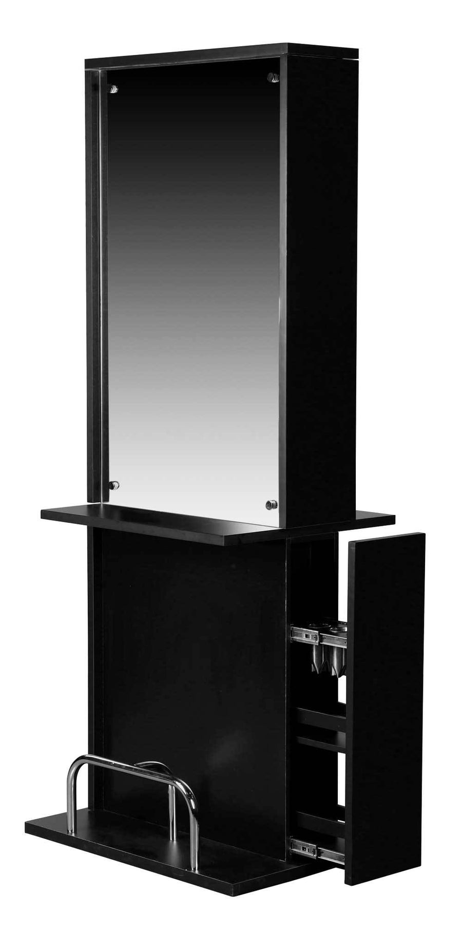 "Icarus ""Libby"" Black Salon Styling Station With Mirror Styling Stations & Cabinets Icarus"