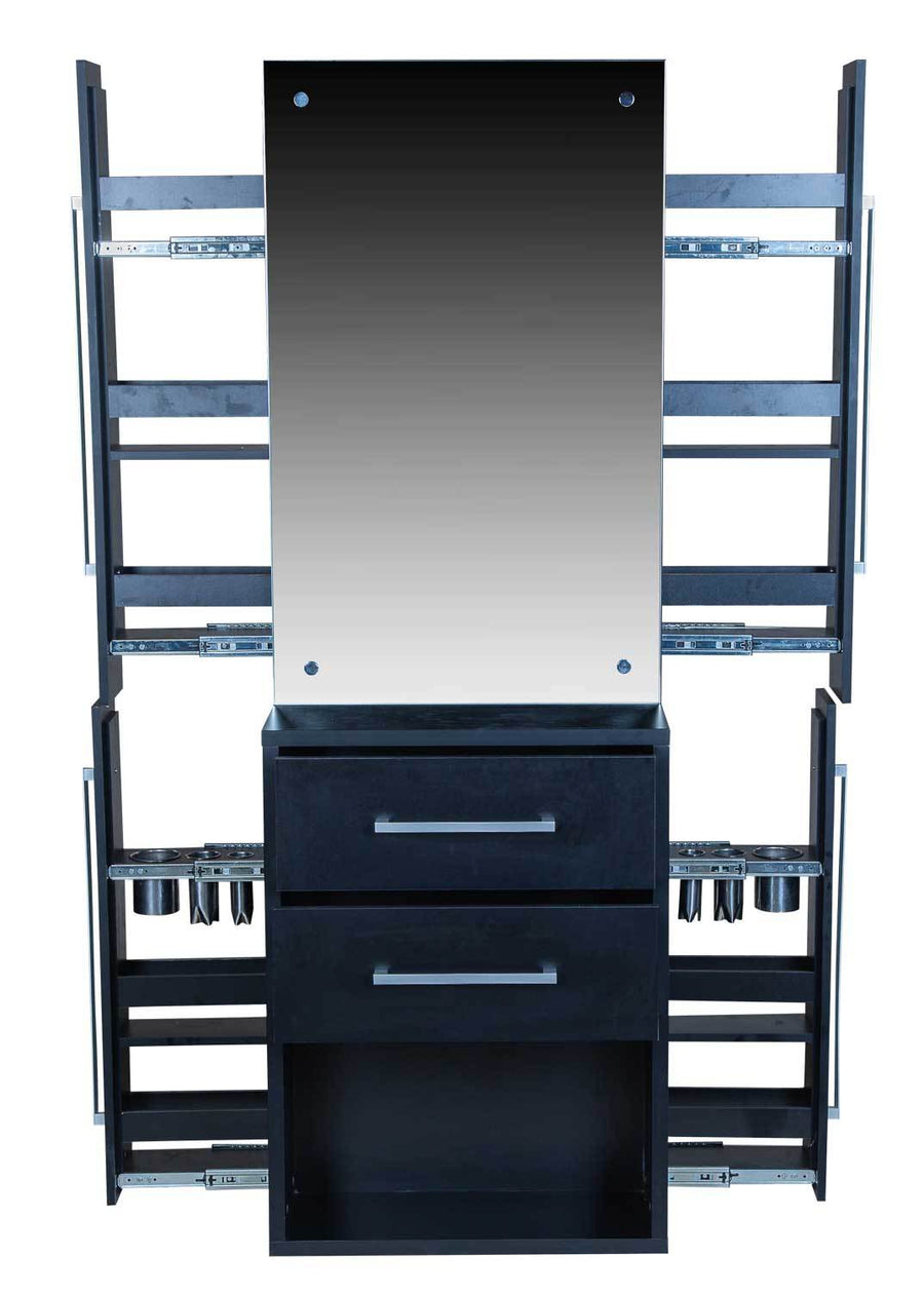 "Icarus ""Palmdale"" Black Salon Styling Station With Mirror Styling Stations & Cabinets Icarus"
