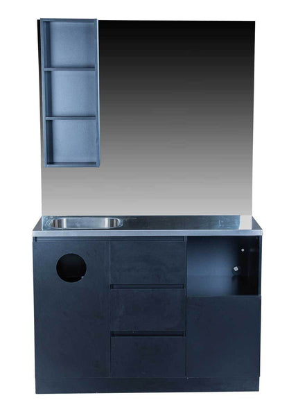 "Icarus ""Ashland"" Black Barber Styling Salon Station With Mirror And Sink Styling Stations & Cabinets Icarus"