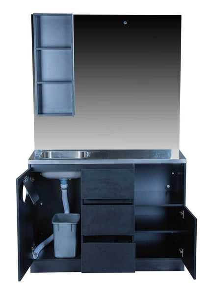"Icarus ""Ashland"" Black Barber Styling Salon Station With Mirror And Sink"