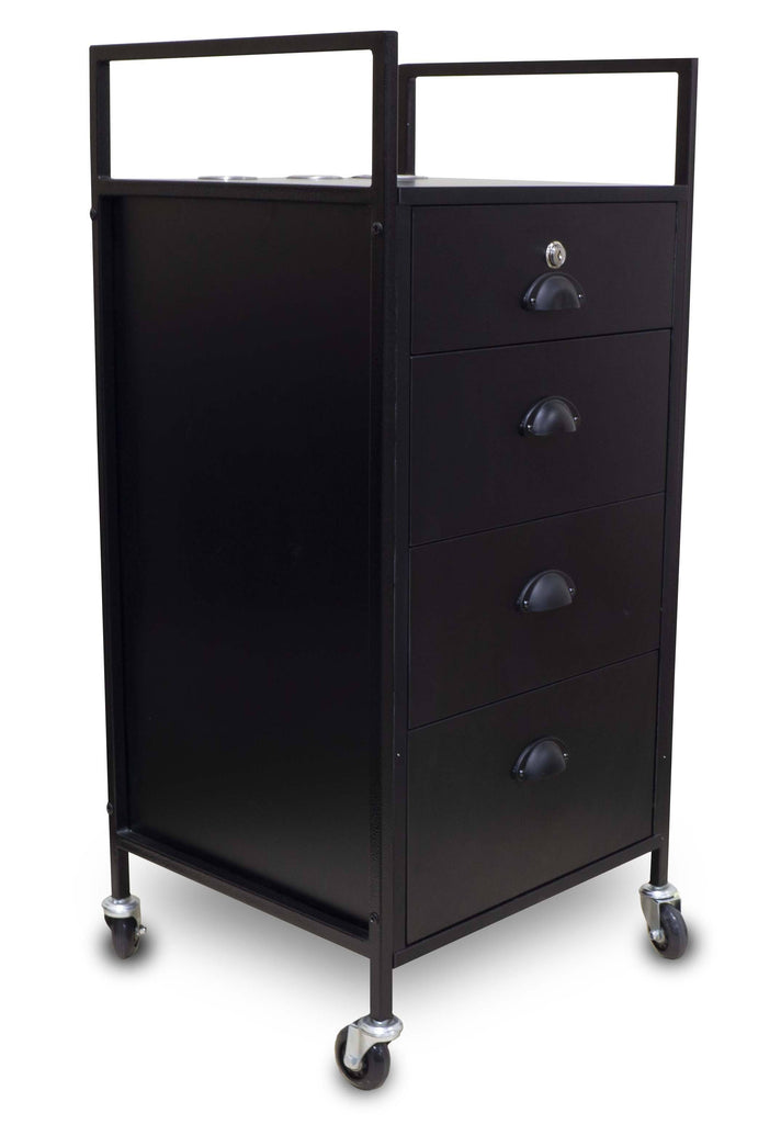 Icarus Darby Beauty Salon Wooden Rolling Trolley Cart With 4 Drawers