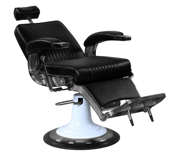 """Ford"" Professional Reclining Black Barber Chair With Heavy Duty Base Barber Chairs Icarus"