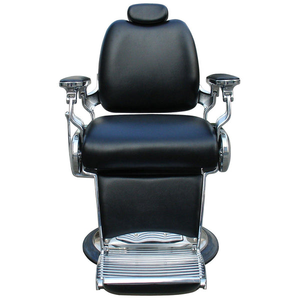 """Carter"" Reclining Black Barber Chair With Heavy Duty Base And Chrome Frames"