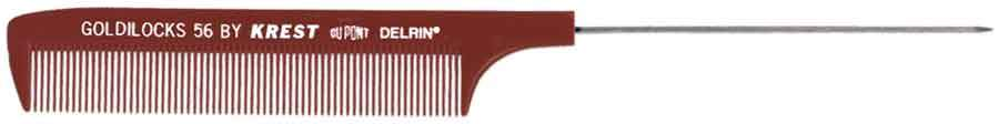 Krest Goldilocks Rattail Comb 12ct Hair Combs & Picks Krest Stainless Steel Burgundy