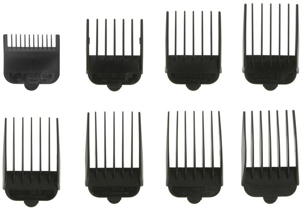 Wahl #1-8 Attachment Combs, Black Hair Clipper Blades & Guides Wahl Default Title