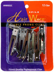 HairWare Double Prong Clips - 12 ct