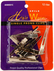 HairWare Single Prong Clips - 12 ct