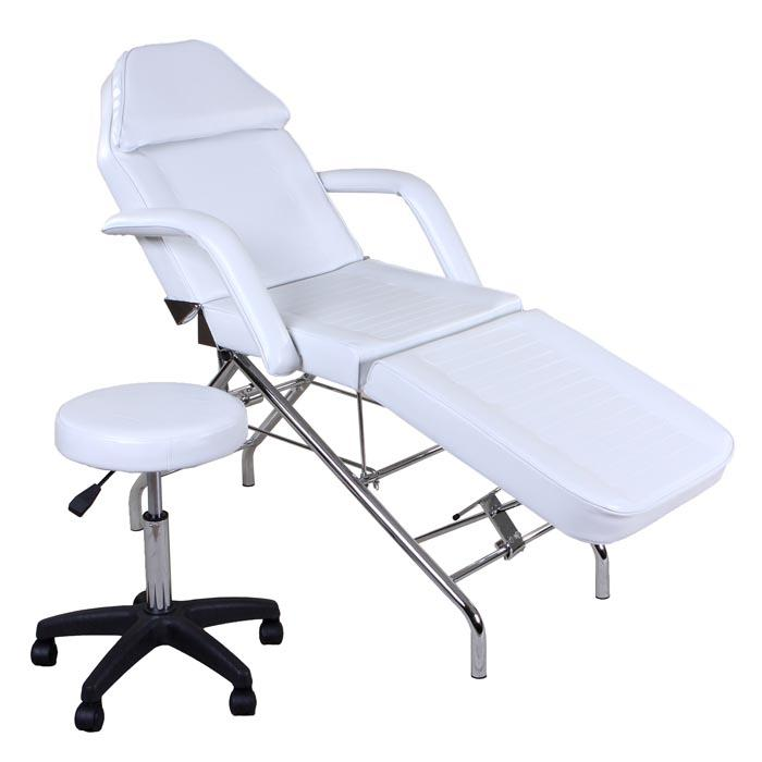 """Hera"" Facial Spa Tattoo Bed with Towel Holder & Stool Facial Beds Icarus White"