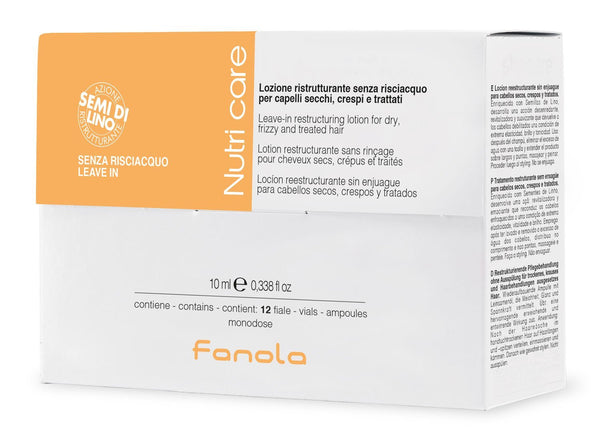 Fanola Nutri Care restructuring lotion for dry, frizzy and treated hair, 10 ml x 12 pieces
