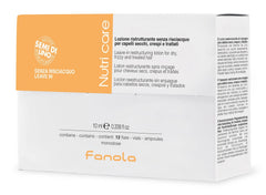 Fanola Nutri Care restructuring lotion for dry, frizzy and treated hair, 10 ml x 12 pieces Hair Treatments Fanola Default Title
