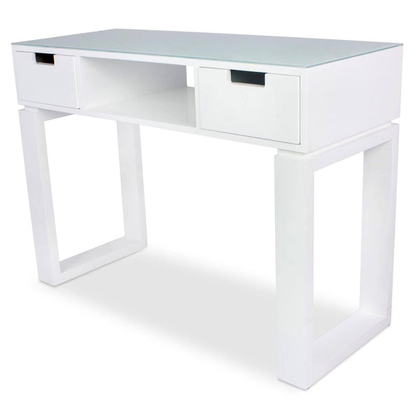 "Icarus ""Ming"" Manicure Table With Glass Top Manicure Tables Icarus White"