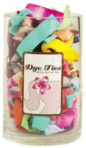 Dye Tie Mini Vase with 75 Hair Ties