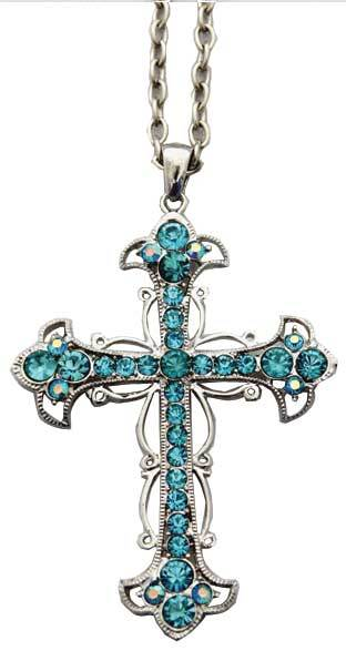 Body Toolz Blue Crystal Cross Necklace