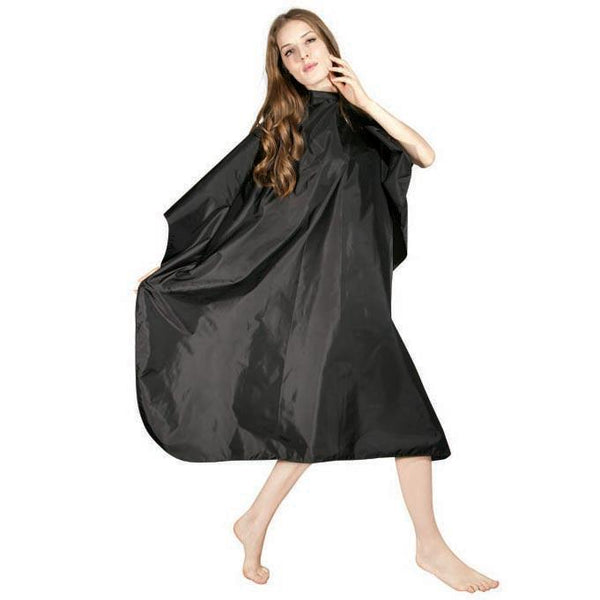 Icarus Black Nylon Hair Styling Salon Cape with Snaps Cutting Cape Icarus Default Title