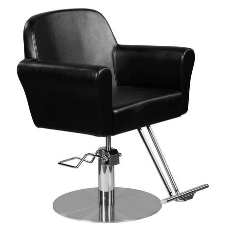 """Howard"" Modern Hair Salon Styling Chair With Round Base, Chrome T Bar Footrest"