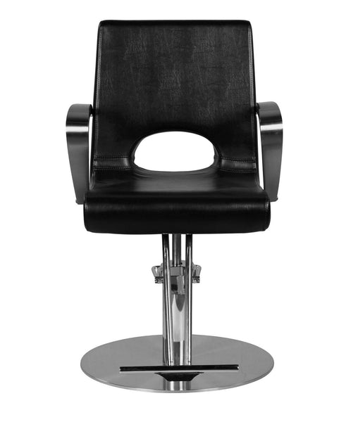 """Shipp"" Chrome Handle Hair Salon Styling Chair With Round Base, T Bar Footrest"
