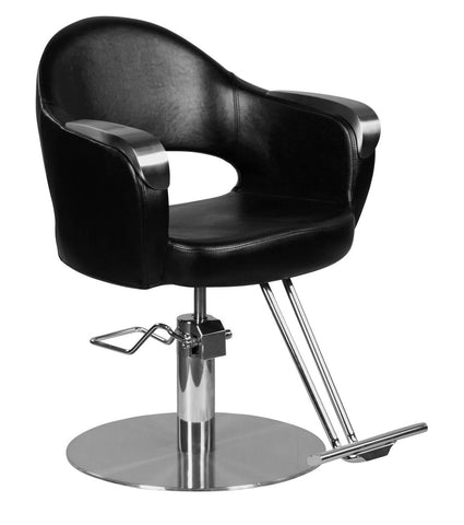 """Depp"" Modern Round Hair Salon Styling Chair With Round Base, T Bar Footrest"