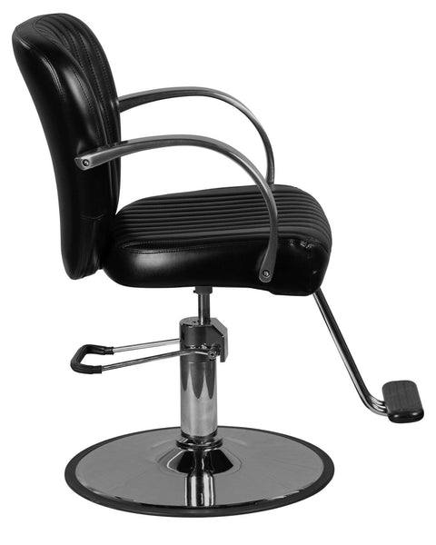 """Lauren"" Black Salon Styling Chair Round Base Styling Chairs Icarus"