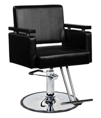 """Watson"" Wood Handle Hair Salon Styling Chair With Round Base, T Bar Footrest"