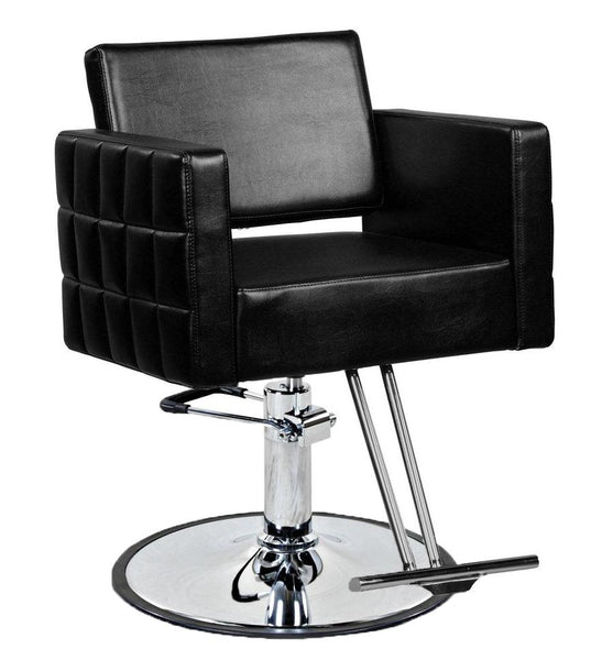 """Bianco"" European Tufted Hair Salon Styling Chair With Round Base T Bar Footrest"