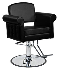"""Mara"" European Hair Salon Styling Chair With Round Base, Chrome T Bar Footrest Styling Chairs Icarus"