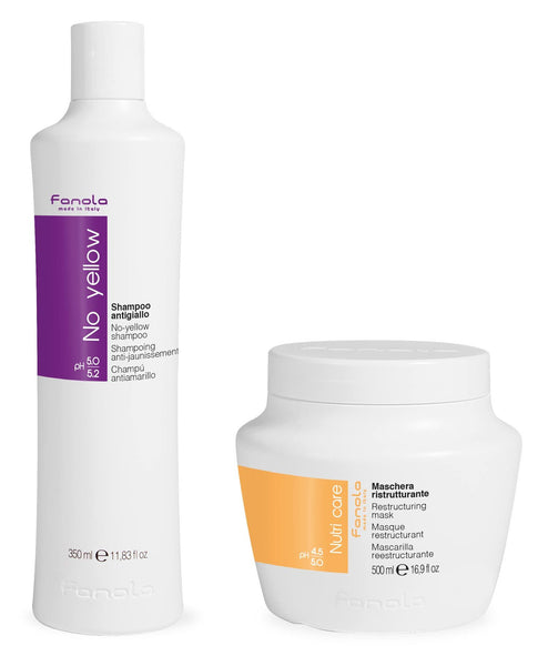 Fanola No Yellow Shampoo 350 ml & Nutri Care Restructuring Mask 500 ml