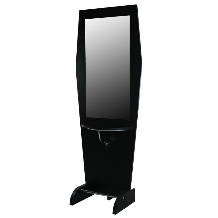 """Boston"" Black Single Salon Styling Station With Mirror Styling Stations & Cabinets Icarus"