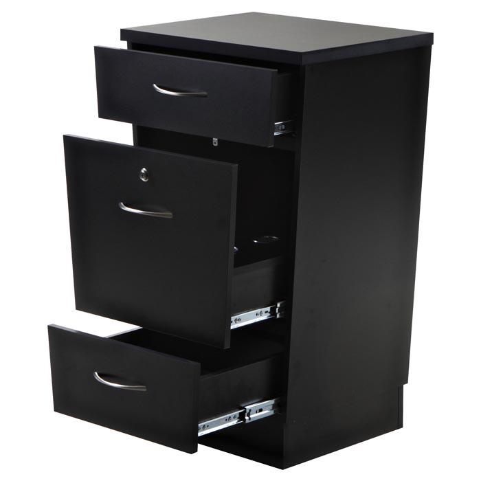 """Phoenix"" Salon Cabinet with Three Drawers, Black Styling Stations & Cabinets Icarus"