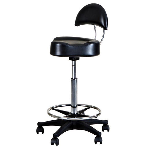 """Chevelle"" Black Hydraulic Rolling Stool Back & Footrest"