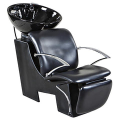 """Davis"" Black Beauty Salon Shampoo Chair & Sink Bowl Unit Shampoo Backwash Units Icarus Default Title"